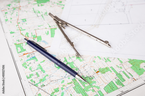 geodesy concept with pencil  and calipers - 80027616
