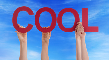 Many People Hands Holding Red Straight Word Cool Blue Sky