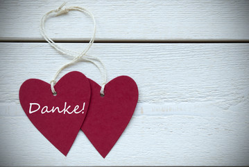 Two Hearts Label German Text Danke Means Thank You