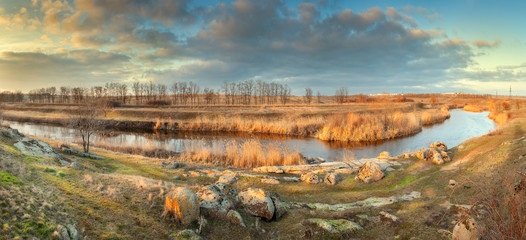 Beautiful panoramic landscape. Autumn on the river
