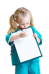 Little girl in costume of doctor takes notes isolated