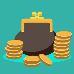 Purse and coin, modern flat icon