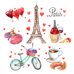 Paris symbols watercolor icons composition