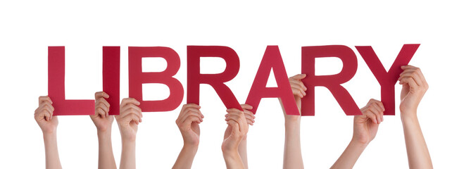Many People Hands Holding Red Straight Word Library