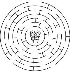 Butterfly labyrinth, maze. For children.