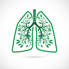 Human lungs in the form of green leaves on a white background.
