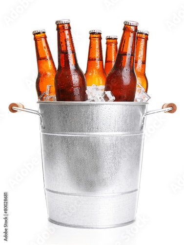 Glass bottles of beer in metal bucket isolated on white - 80028681