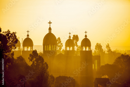 Aluminium Temple Ethiopian orthodox church at dawn