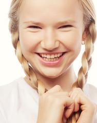 Little happy girl with big smile.