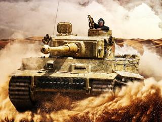 Enemy tanks moving in the desert