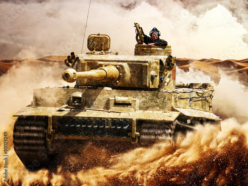 canvas print picture Enemy tanks moving in the desert