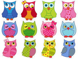 Set of twelve colourful cartoon owls