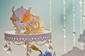Wedding table with beautiful shell