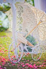 Wedding decoration of bicycle and umbrella