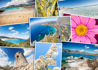 Travel pictures mosaic with seascape photos