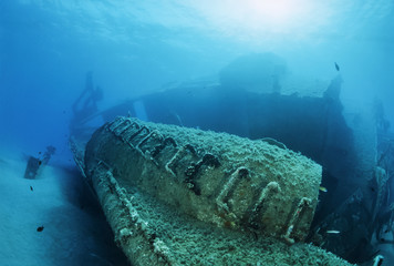 Italy, Mediterranean Sea, sunken ship wreck - FILM SCAN