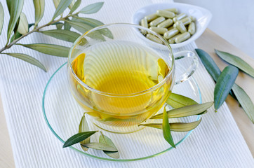 Olive leaf herbal tea  and olive leaf extract capsules . Dietary