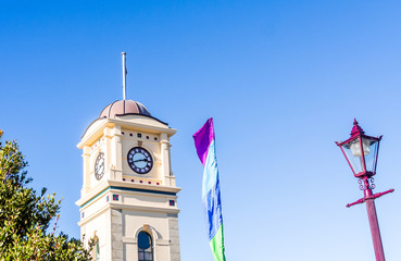 Clock tower in the square, Feilding, Manawatu, North Island, New