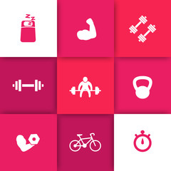 Gym, fitness, workout, training, biceps flat icons