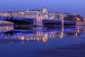 Palace Bridge and the building of the Hermitage at night, St. Pe