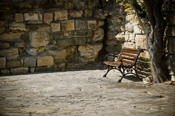 bench, tree and old stone wall