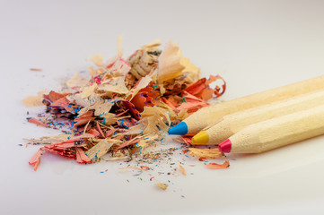 pencils primary colors red blue yellow and sharpening residue