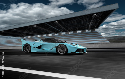 Fotobehang Motorsport Auto Szene 217 blauer Sportwagen