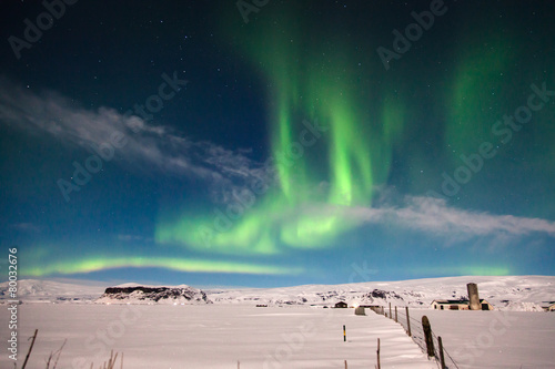 aurora borealis on white snow landscape