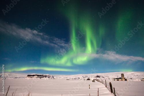 aurora borealis on white snow landscape