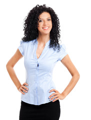 Friendly female manager on white background