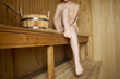 Beautiful woman in sauna, bath accessories