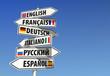 Leinwandbild Motiv Sprachen-Wegweiser