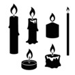 Set of black and white silhouette burning candles - 80034281