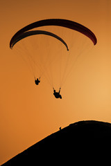 Paragliding on the sunset