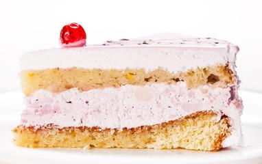 fresh vanilla slice of cake closeup