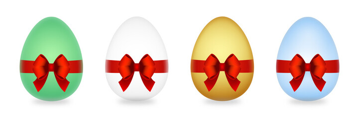 Easter eggs with red bow isolated on white