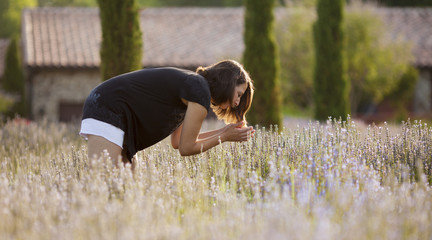 woman in lavender field