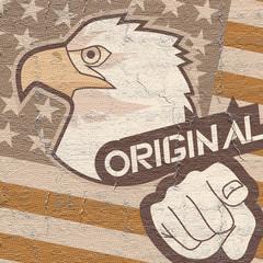 Flag eagle and hand