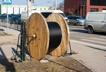 large coil cable outside