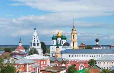 The cityscape of the Kolomna Kremlin on the sky background