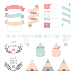 Set of cute ribbons, labels, droplet