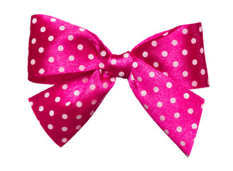 red bow with white polka dots made from silk