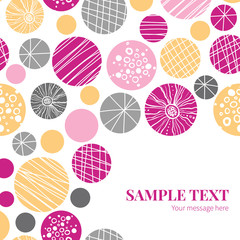 Vector abstract textured bubbles frame corner pattern background