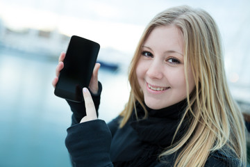 young woman with mobil phone