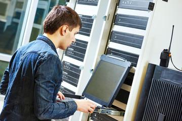 service engineer in server room