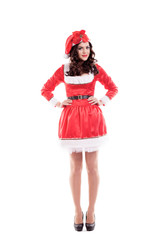 Beautiful and sexy woman wearing santa clause costume isolated