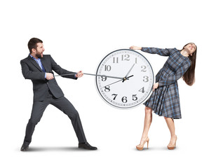 emotional couple stretching out the clock
