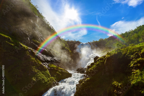 Leinwandbild Motiv Giant Kjosfossen waterfall in Flam - Norway