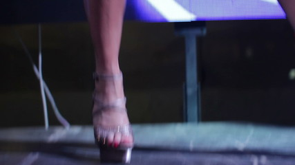 High heels shoes of strip dancers (on air)