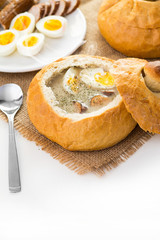 Polish Easter soup. Cream soup in bread